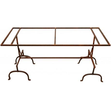 Tavolo realizzato con cavalletti in ferro - Recuperando