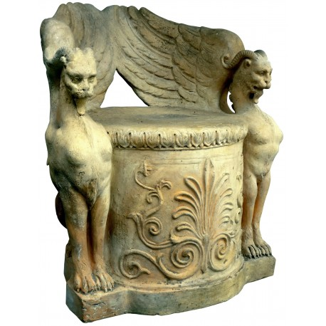 Original ancient terracotta seat By Manifattura di signa