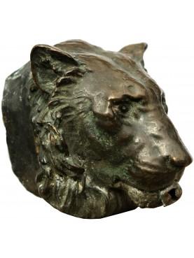 Mascherone per fontana, testa di leone in bronzo