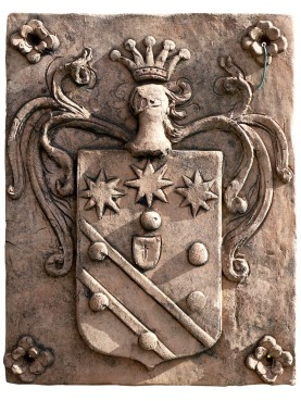 Terracotta coat of arms crowned Holy Roman Empire