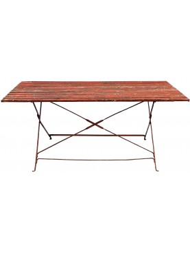 Ancient wooden table with legs 150cm in wrought iron