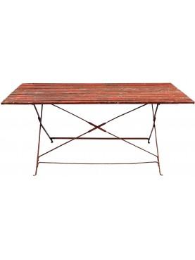 Tavolino antico in ferro e legno a stecchine