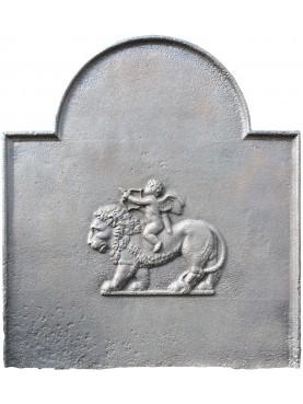 Lastra originale antica putto a cavallo del leone