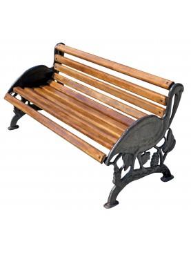 Panchina antica con gambe in ghisa raffiguranti due pellicani