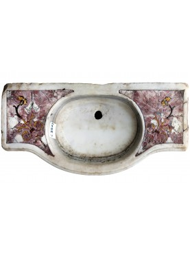 Lavandino originale antico in marmo venato olimpico con tarsie