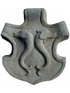 Copy Coat of Arms with dolphins - sandstone - Pazzi family Florence