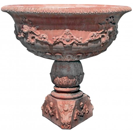 Grande fontana circolare in terracotta