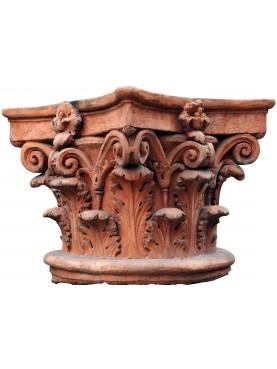 Grande Stupendo Capitello Corinzio in Terracotta