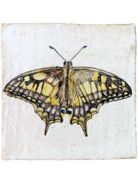 Butterfly Papilio Machaon (Linnaeus, 1758) majolica tile
