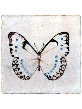 White Butterfly tile entomological tiles