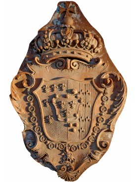 Coat of arms in terracotta Malaspina + Prince Napoleonico