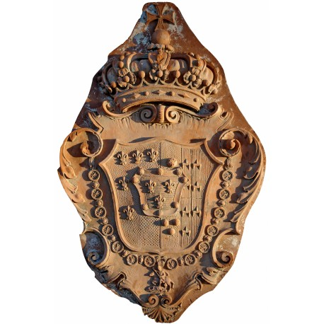 Stemma nobiliare in terracotta Malaspina + Principe Napoleonico