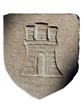 Stemma in pietra castello su scudo