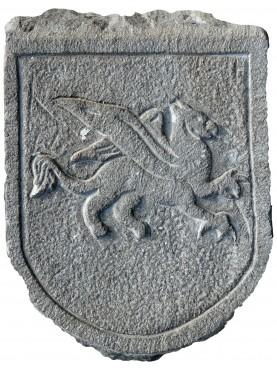 Stemma in pietra arenaria grigia - cavallo alato