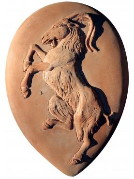 Stemma in terracotta della confraternita dei macellai di Firenze