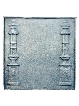 Ancient Two pillars cast iron fireback
