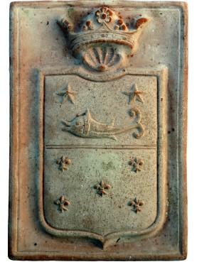 Stemma in terracotta formella rettangolare delfinato