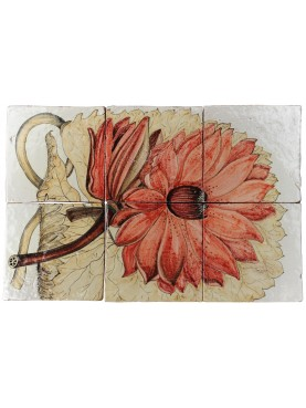 Majolica Panel red dahlia Paxton