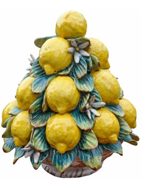 Lemons basket pyramid with flowers