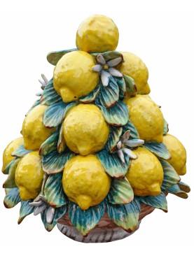 grande Piramide di limoni con fiori trionfo di frutta