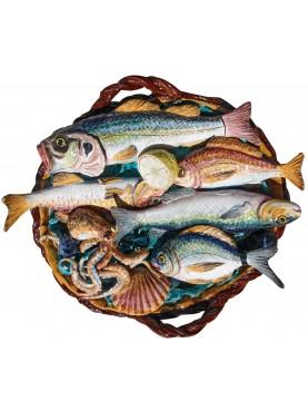 Cestino di pesci misti grande maiolica siciliana