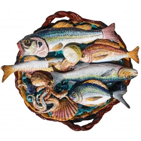 Great basket with various mediterranean fisches