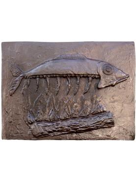 Lastra in ghisa per camino con pesce