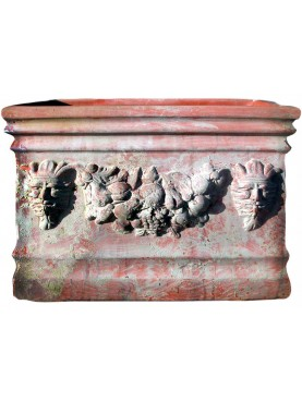 Flowers pot - Terracotta box with festoons and satyrs