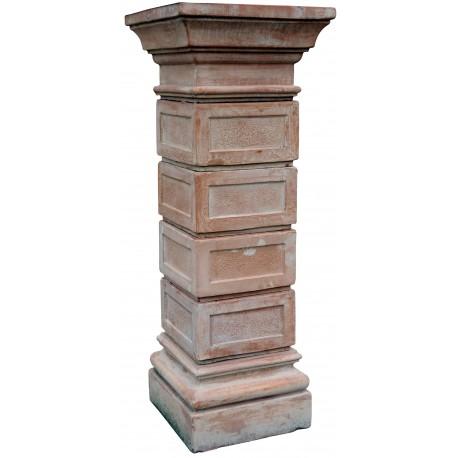 Square modular terracotta columns for garden gate