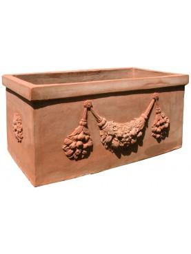Grande cassetta in terracotta dell'Impruneta con festoni