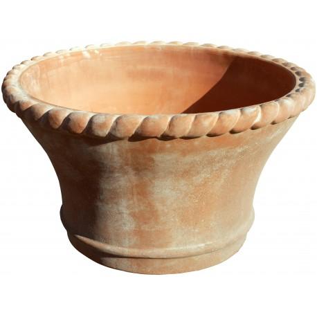 Grande vaso da fiori in terracotta con bordo a tortiglione