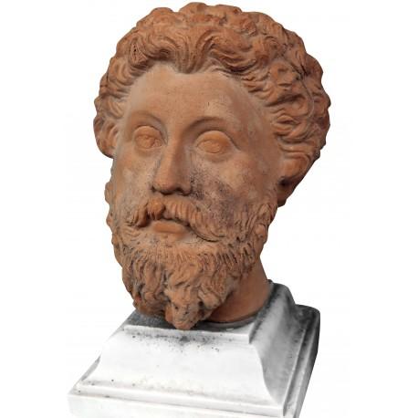 Marco Aurelio testa in terracotta patinata