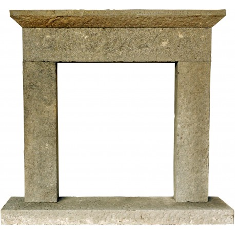 Small lime stone fireplace