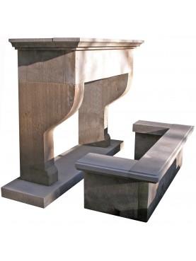 Limestone Trumeaux fireplace