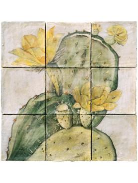 Majolica Panel prickly pear - M.E.Eaton