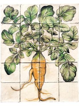 Pannello di maiolica RAVANELLO lungo bianco ALDROVANDI