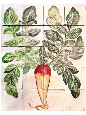 Majolica Panel long red radish - U.Aldrovandi