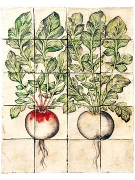Pannello di maiolica due ravanelli - U.Aldrovandi