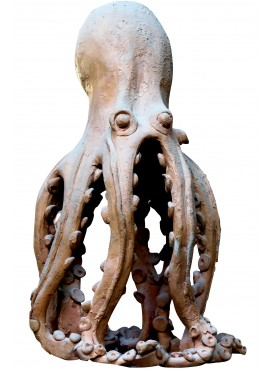 Octopus candlestick in terracotta