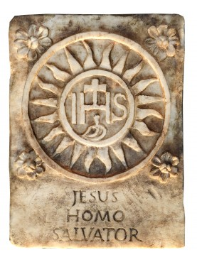 IHS relief in white Carrara statuary marble
