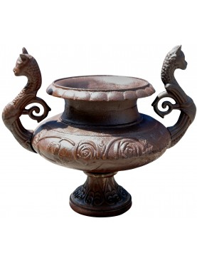 Cast iron vase with handles