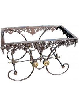 Tavolo francese 120CM in ferro con piano in marmo