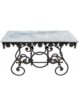 Tavolo francese 131 CM in ghisa e marmo da macellaio