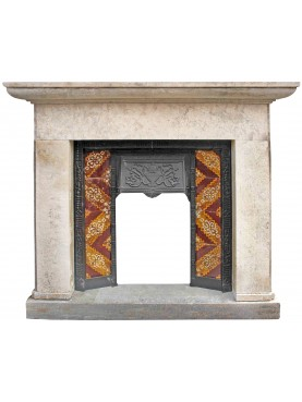 Limestone fireplace with cast iron heart