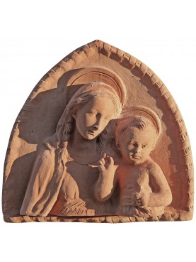 Terracotta basrelief Madonna with Child