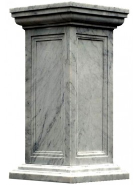 White Carrara marble base H.110cms 55x55cms