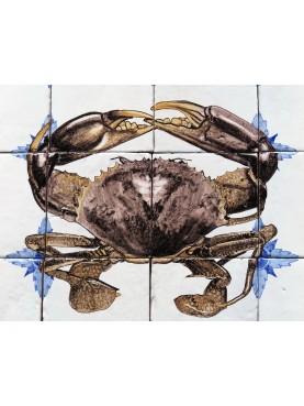 Brown Crab majolica panel