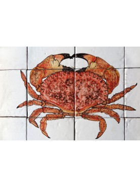 Red Crab majolica panel