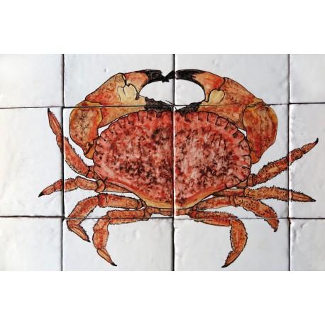 Pannello maiolica Granchio rosso