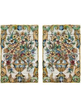 Coppia di pannelli maiolicati siciliani